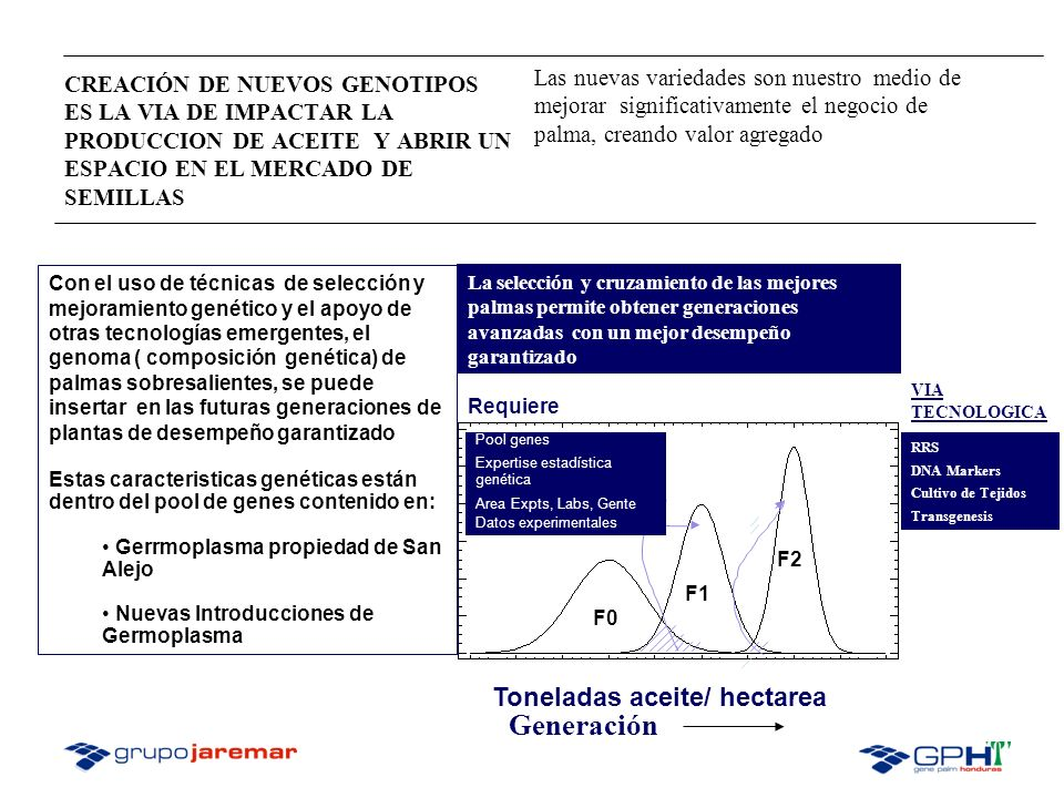 Generación Toneladas aceite/ hectarea