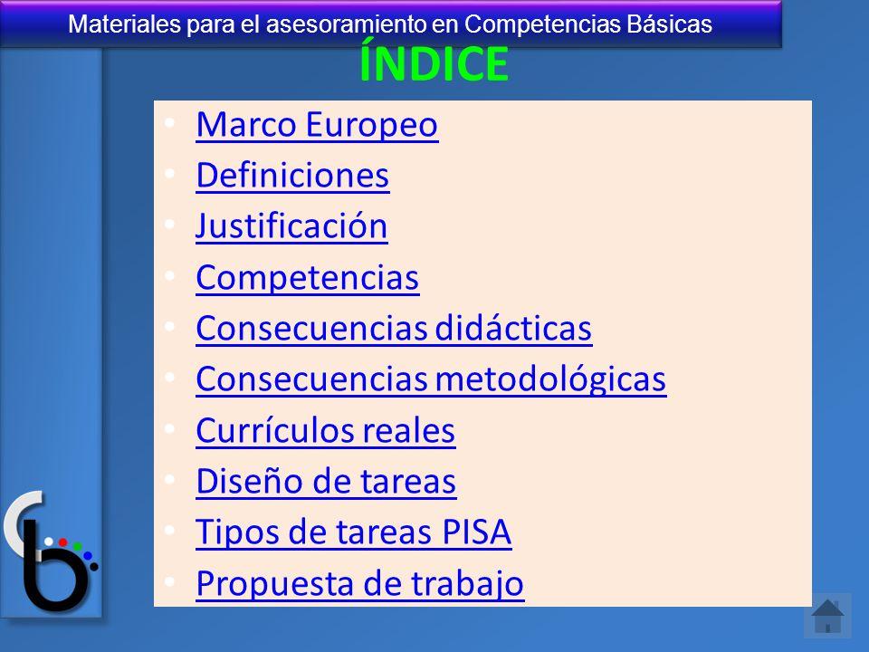ÍNDICE Marco Europeo Definiciones Justificación Competencias