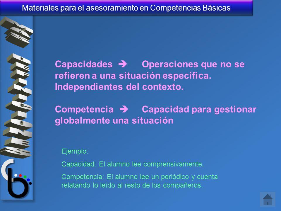 Capacidades  Operaciones que no se refieren a una situación específica. Independientes del contexto.