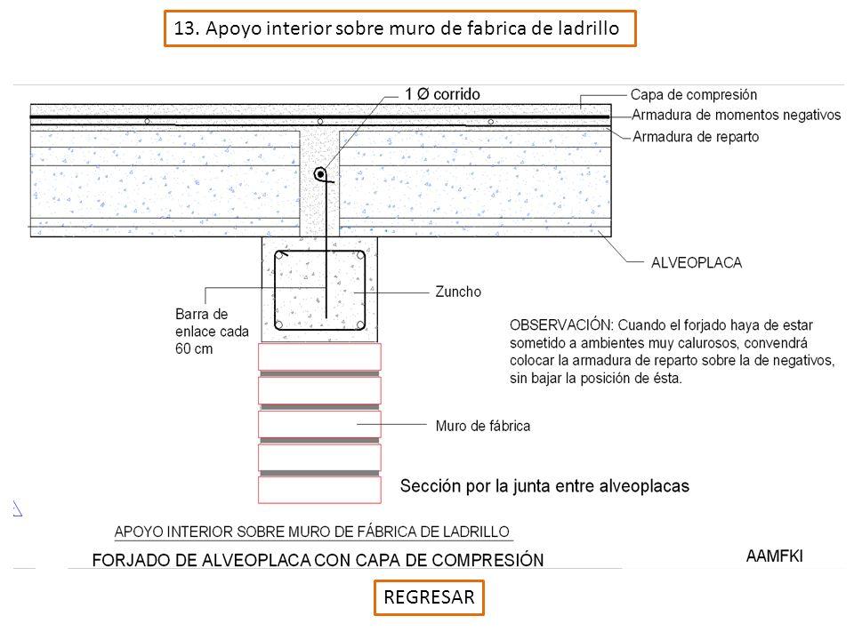 13. Apoyo interior sobre muro de fabrica de ladrillo