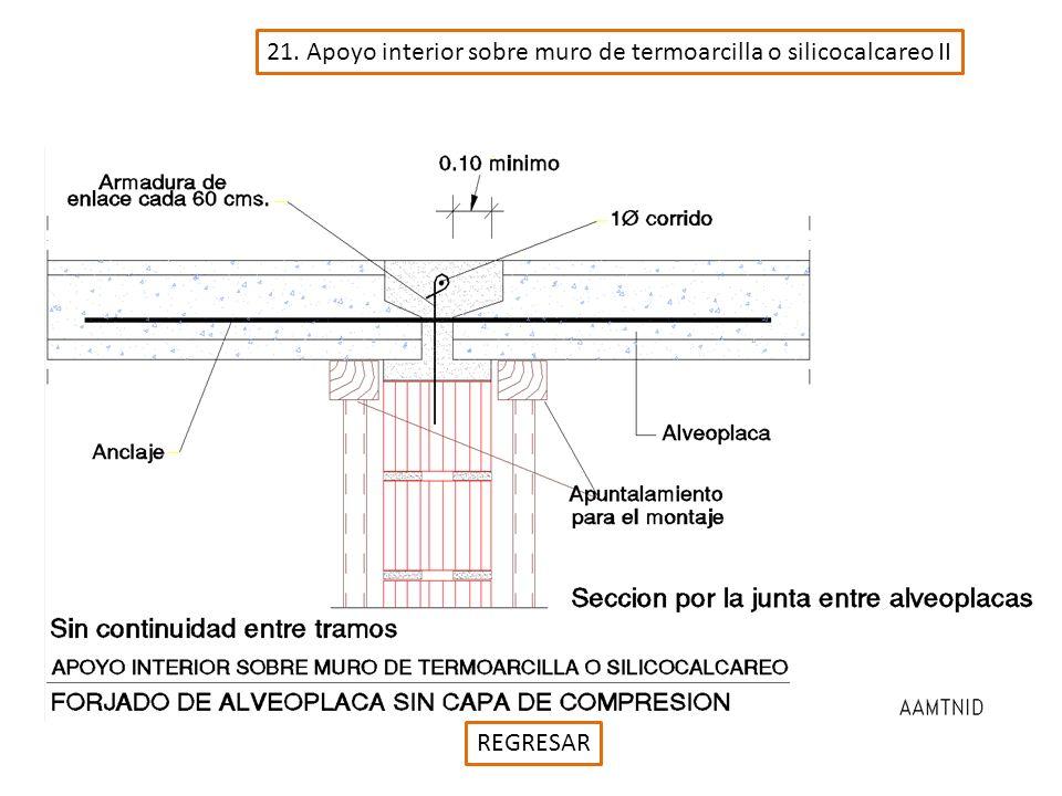 21. Apoyo interior sobre muro de termoarcilla o silicocalcareo II