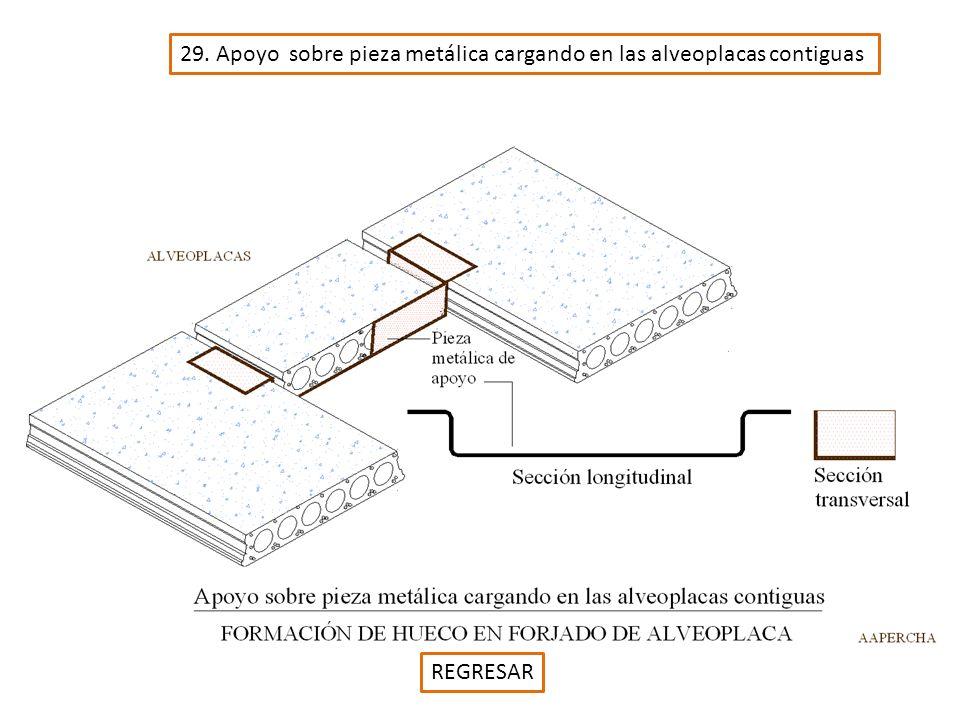 29. Apoyo sobre pieza metálica cargando en las alveoplacas contiguas