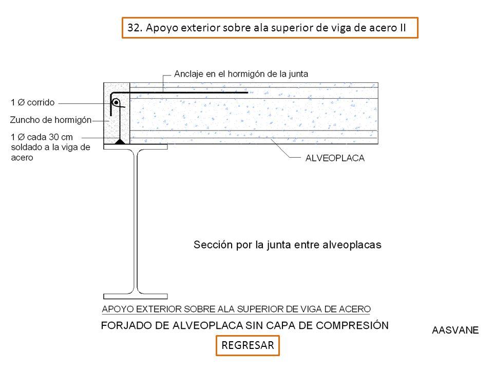 32. Apoyo exterior sobre ala superior de viga de acero II