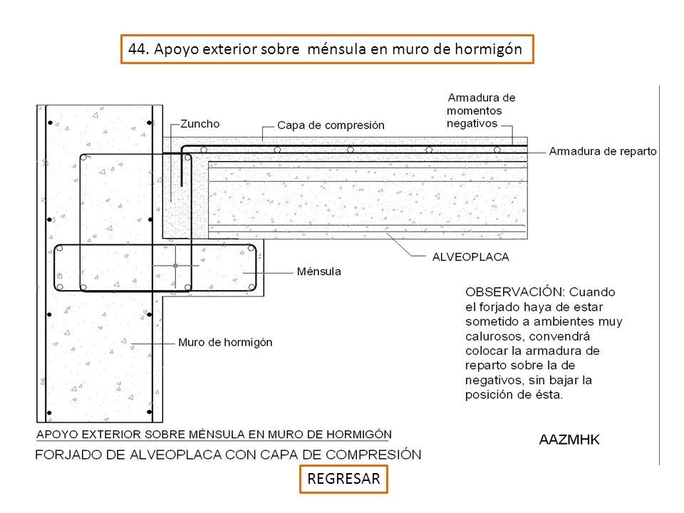 44. Apoyo exterior sobre ménsula en muro de hormigón