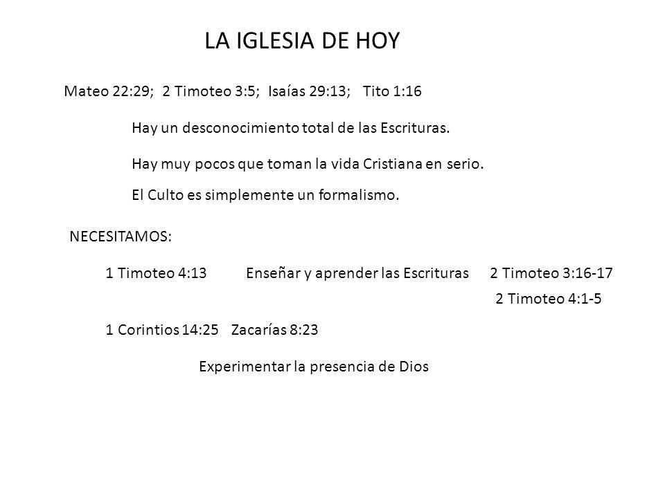 LA IGLESIA DE HOY Mateo 22:29; 2 Timoteo 3:5; Isaías 29:13; Tito 1:16