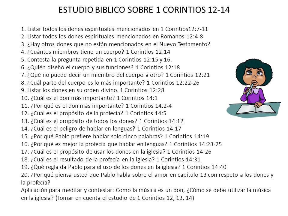 ESTUDIO BIBLICO SOBRE 1 CORINTIOS 12-14