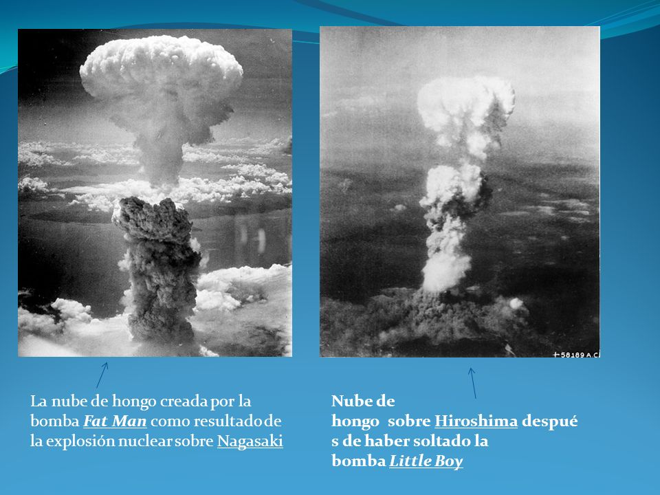 La nube de hongo creada por la bomba Fat Man como resultado de la explosión nuclear sobre Nagasaki