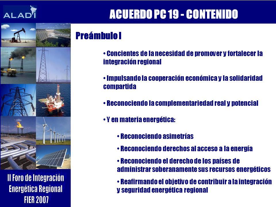 ACUERDO PC 19 - CONTENIDO Preámbulo I