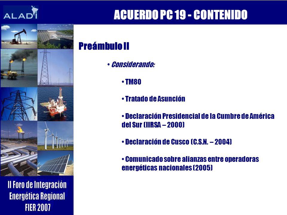 ACUERDO PC 19 - CONTENIDO Preámbulo II Considerando: TM80