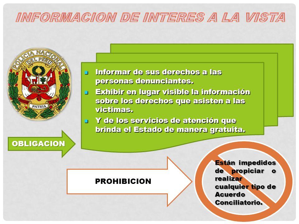 INFORMACION DE INTERES A LA VISTA