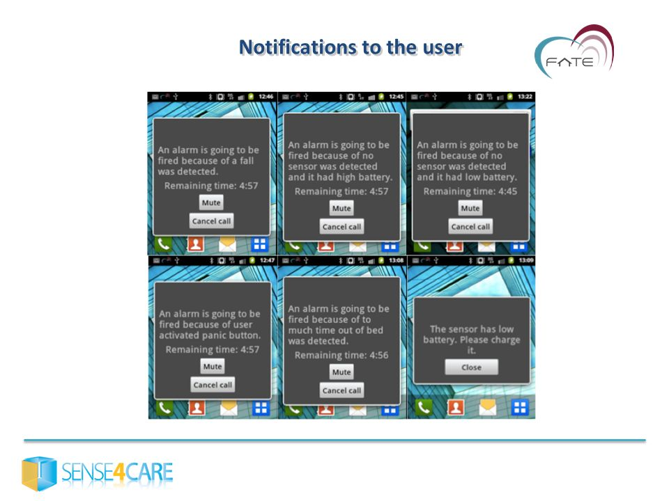 Notifications to the user