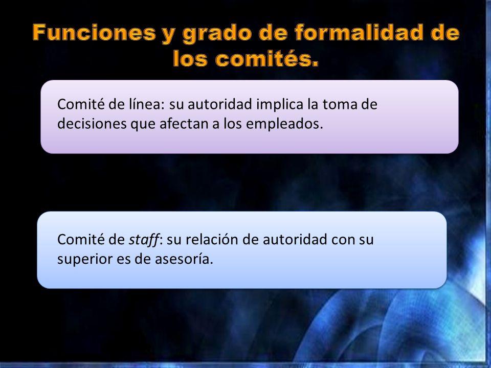 Funciones y grado de formalidad de los comités.