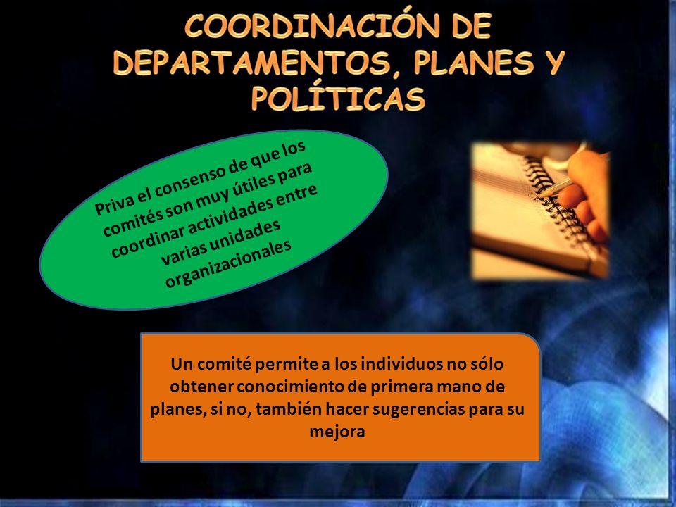 COORDINACIÓN DE DEPARTAMENTOS, PLANES Y POLÍTICAS