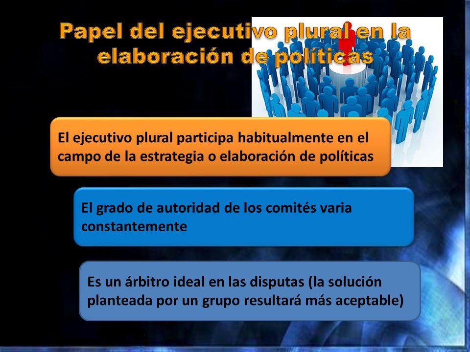 Papel del ejecutivo plural en la elaboración de políticas