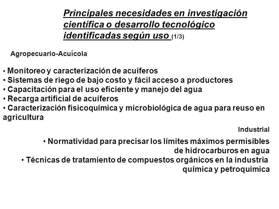 Principales necesidades en investigación científica o desarrollo tecnológico identificadas según uso (1/3)