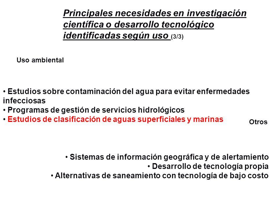 Principales necesidades en investigación científica o desarrollo tecnológico identificadas según uso (3/3)
