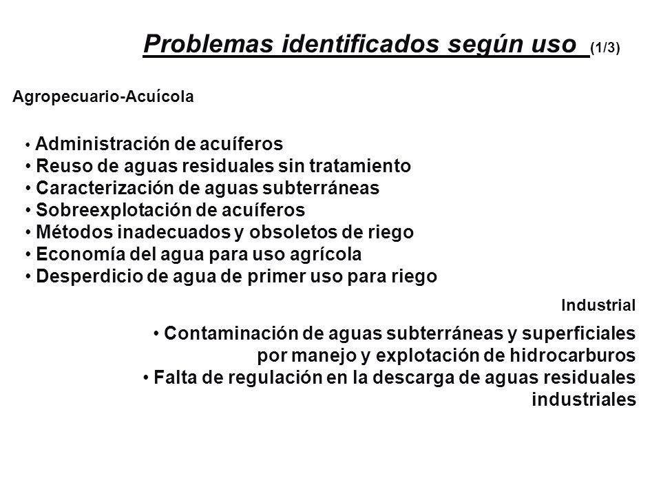 Problemas identificados según uso (1/3)