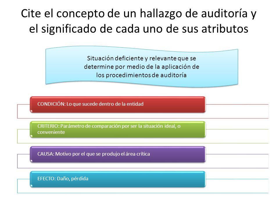 Cite el concepto de un hallazgo de auditoría y el significado de cada uno de sus atributos