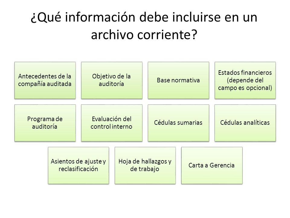 ¿Qué información debe incluirse en un archivo corriente