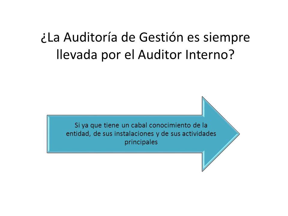 ¿La Auditoría de Gestión es siempre llevada por el Auditor Interno
