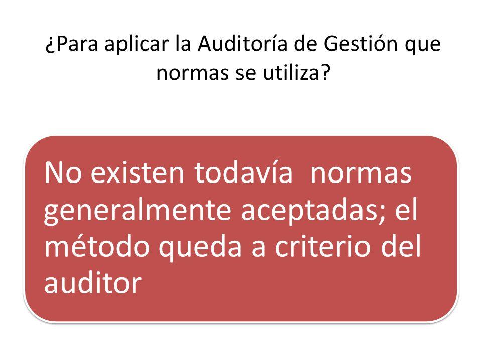 ¿Para aplicar la Auditoría de Gestión que normas se utiliza