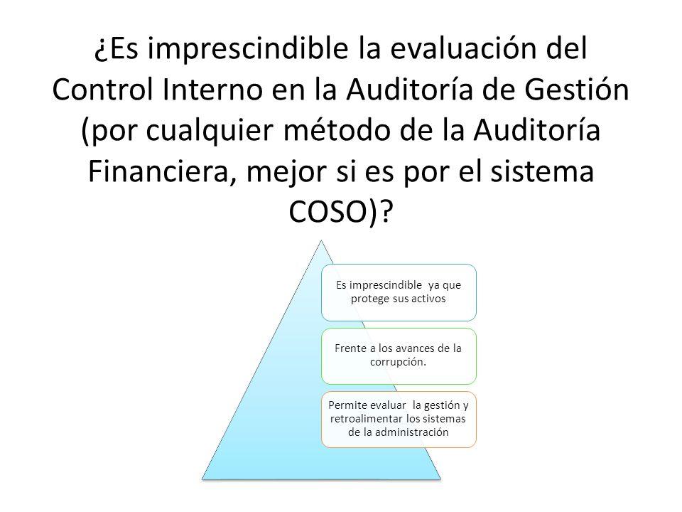 ¿Es imprescindible la evaluación del Control Interno en la Auditoría de Gestión (por cualquier método de la Auditoría Financiera, mejor si es por el sistema COSO)