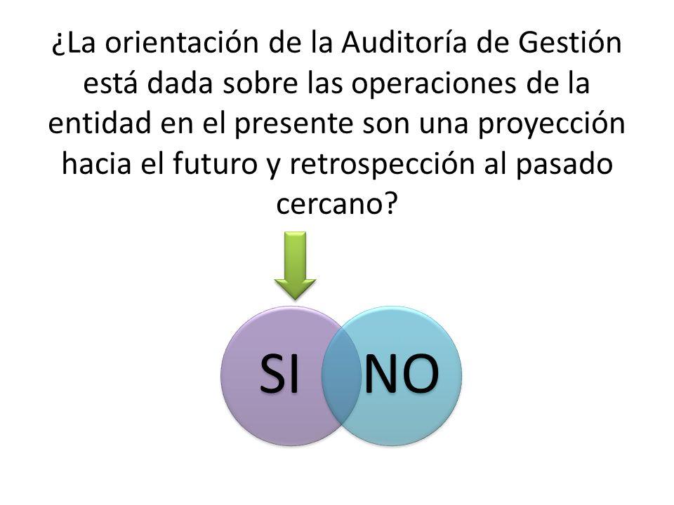 ¿La orientación de la Auditoría de Gestión está dada sobre las operaciones de la entidad en el presente son una proyección hacia el futuro y retrospección al pasado cercano