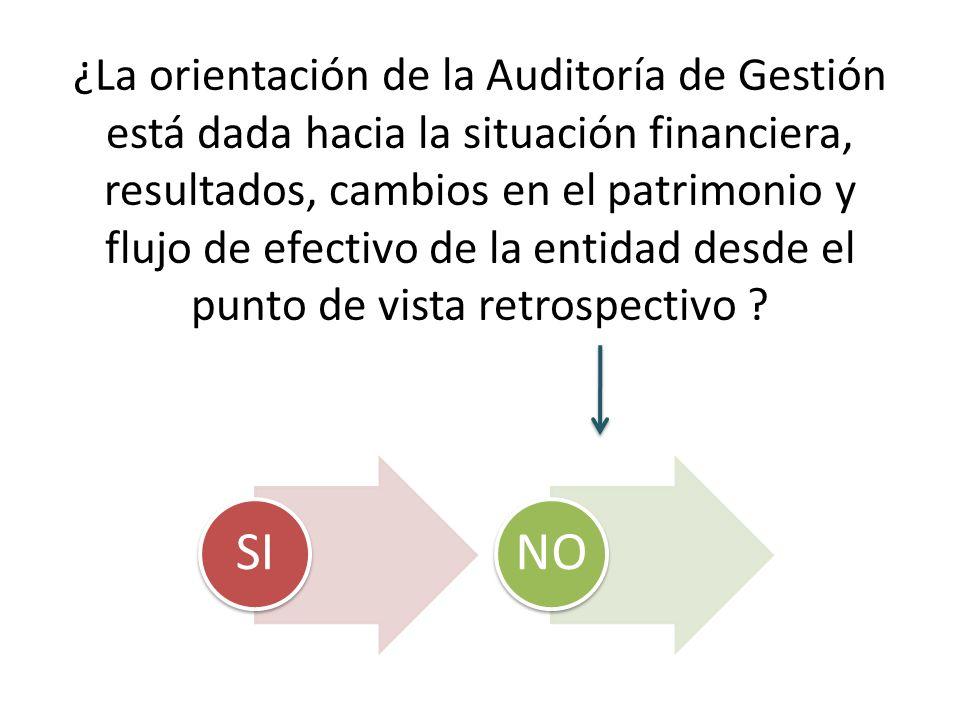 ¿La orientación de la Auditoría de Gestión está dada hacia la situación financiera, resultados, cambios en el patrimonio y flujo de efectivo de la entidad desde el punto de vista retrospectivo