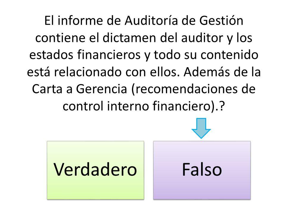 El informe de Auditoría de Gestión contiene el dictamen del auditor y los estados financieros y todo su contenido está relacionado con ellos. Además de la Carta a Gerencia (recomendaciones de control interno financiero).