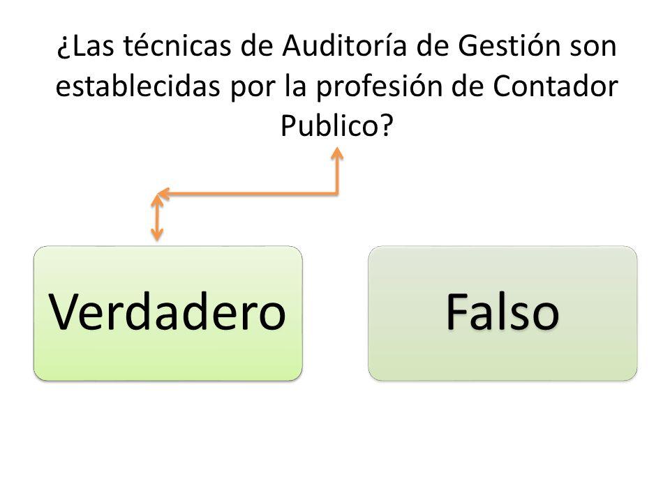 ¿Las técnicas de Auditoría de Gestión son establecidas por la profesión de Contador Publico