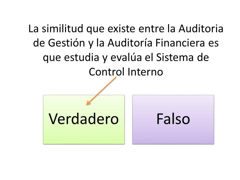 La similitud que existe entre la Auditoria de Gestión y la Auditoría Financiera es que estudia y evalúa el Sistema de Control Interno