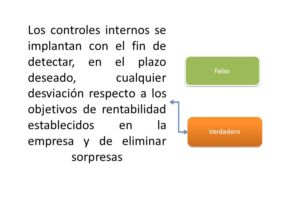 Los controles internos se implantan con el fin de detectar, en el plazo deseado, cualquier desviación respecto a los objetivos de rentabilidad establecidos en la empresa y de eliminar sorpresas
