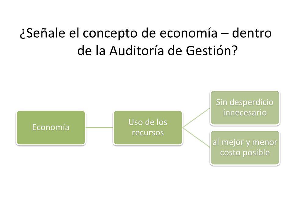 ¿Señale el concepto de economía – dentro de la Auditoría de Gestión