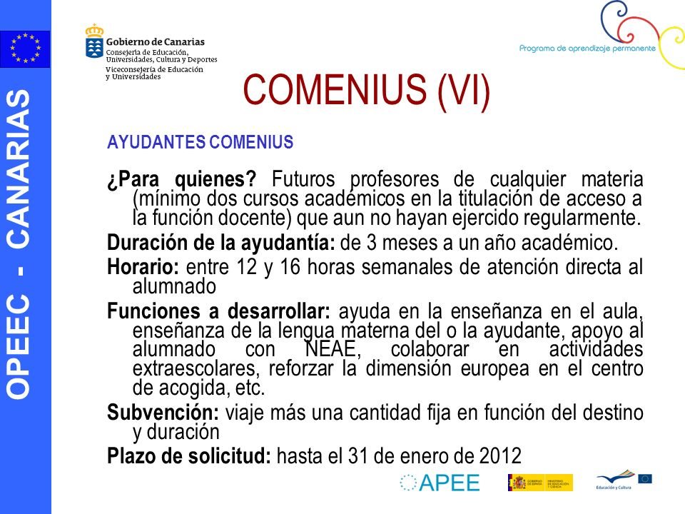 COMENIUS (VI) AYUDANTES COMENIUS.