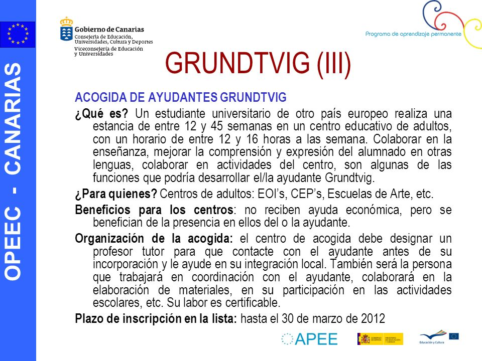 GRUNDTVIG (III) ACOGIDA DE AYUDANTES GRUNDTVIG