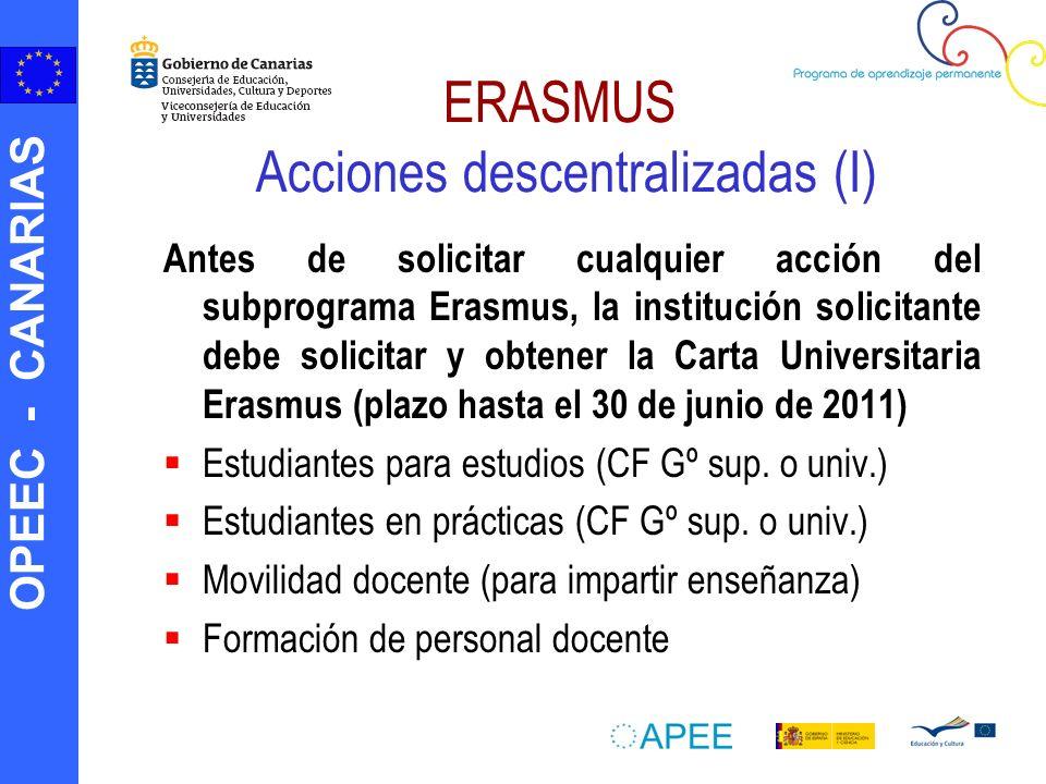 ERASMUS Acciones descentralizadas (I)