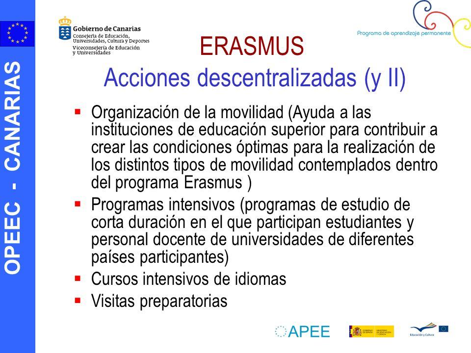ERASMUS Acciones descentralizadas (y II)