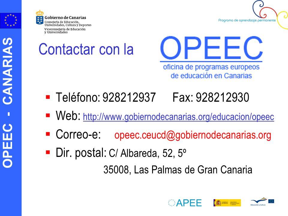 Contactar con la Teléfono: 928212937 Fax: 928212930