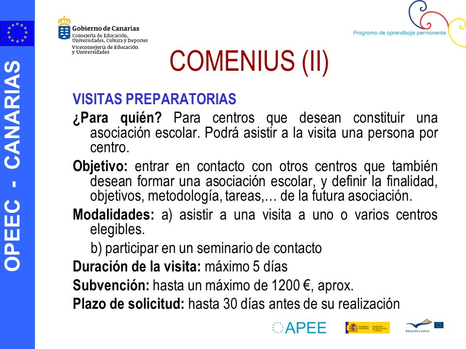 COMENIUS (II) VISITAS PREPARATORIAS