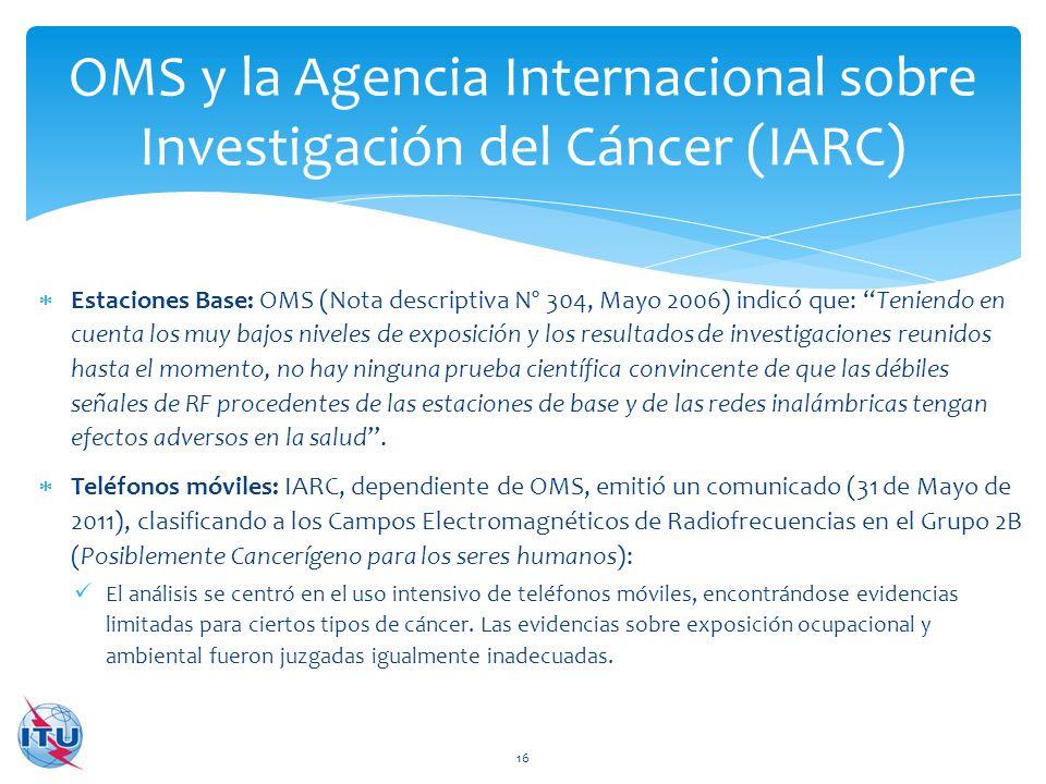 OMS y la Agencia Internacional sobre Investigación del Cáncer (IARC)