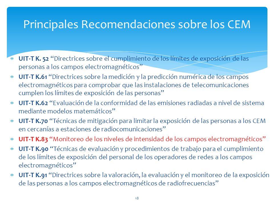 Principales Recomendaciones sobre los CEM