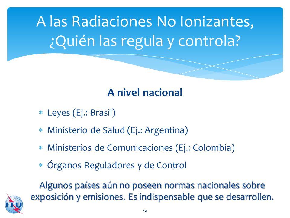 A las Radiaciones No Ionizantes, ¿Quién las regula y controla