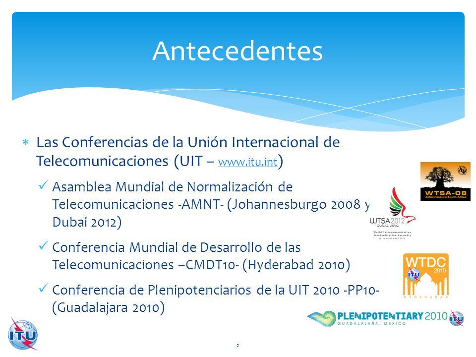 Antecedentes Las Conferencias de la Unión Internacional de Telecomunicaciones (UIT – www.itu.int)