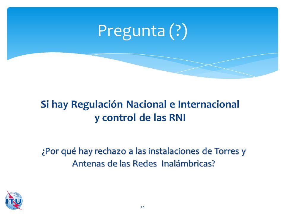 Si hay Regulación Nacional e Internacional y control de las RNI