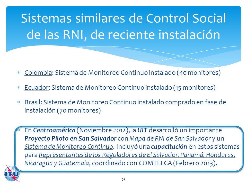 Sistemas similares de Control Social de las RNI, de reciente instalación