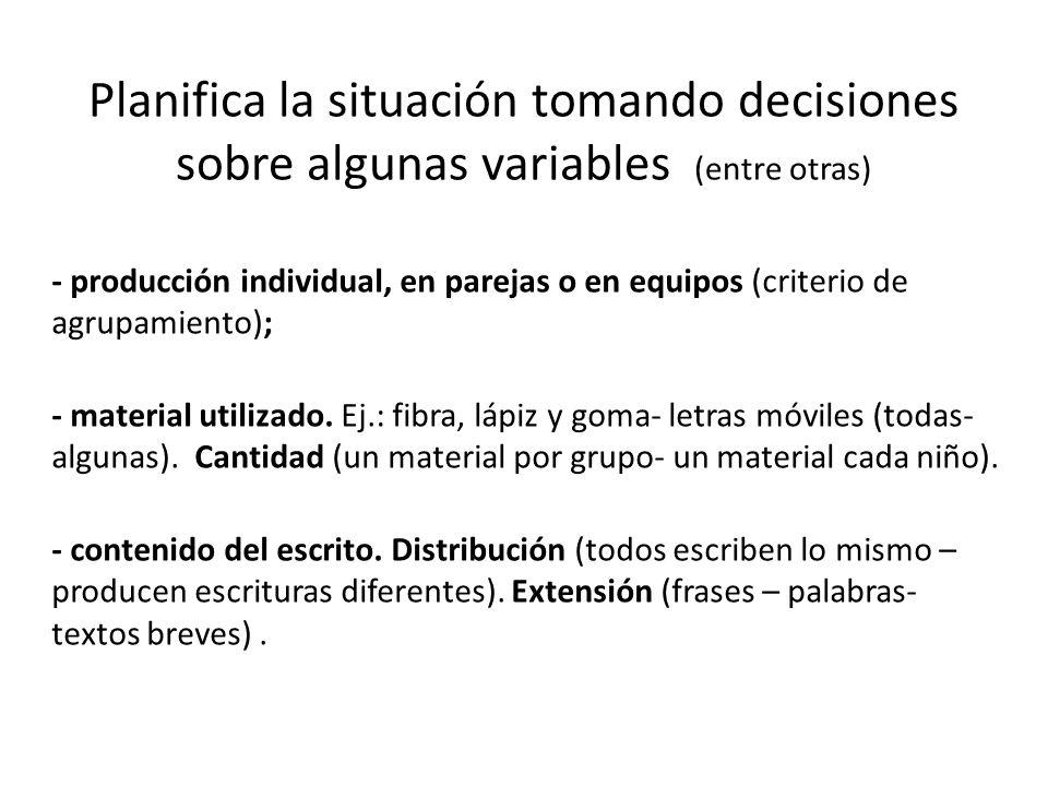 Planifica la situación tomando decisiones sobre algunas variables (entre otras)