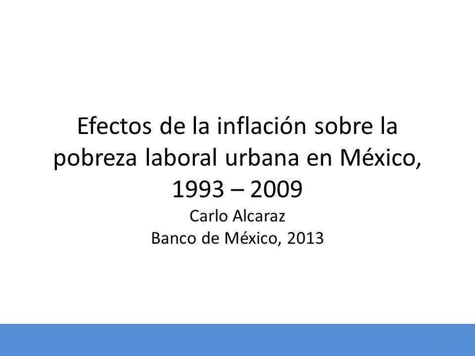 Efectos de la inflación sobre la pobreza laboral urbana en México, 1993 – 2009 Carlo Alcaraz Banco de México, 2013