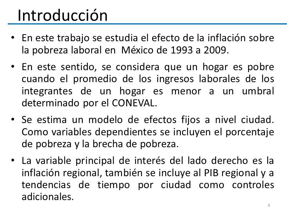 Introducción En este trabajo se estudia el efecto de la inflación sobre la pobreza laboral en México de 1993 a 2009.