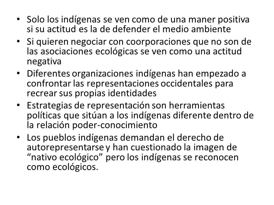 Solo los indígenas se ven como de una maner positiva si su actitud es la de defender el medio ambiente