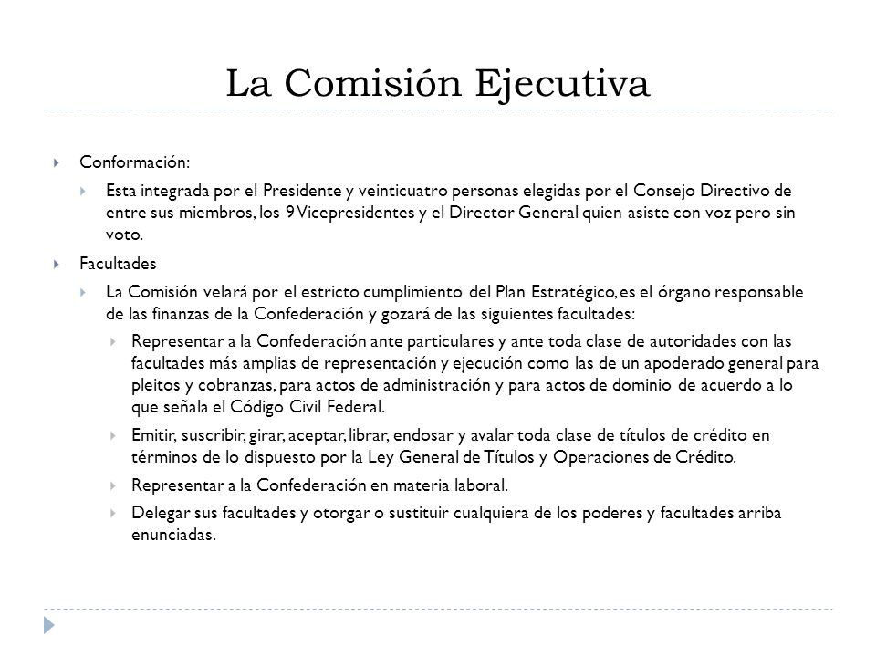 La Comisión Ejecutiva Conformación: